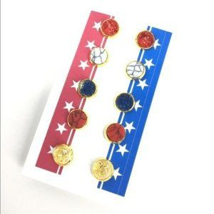 USA Patriots Faux Druzy and Marble studs 5 pair